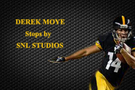 EX- STEELER AND FREE AGENT WIDE OUT DEREK MOYE STOPS BY SNL STUDIO