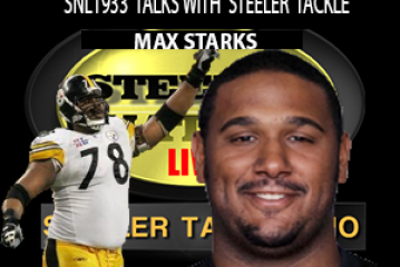 STEELER 2 TIME SUPER BOWL WINNING TACKLE MAX STARKS STOPS BY SNL1933 SET